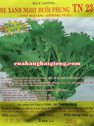 Hạt giống cải bẹ xanh ngọt đuôi phụng_TN23